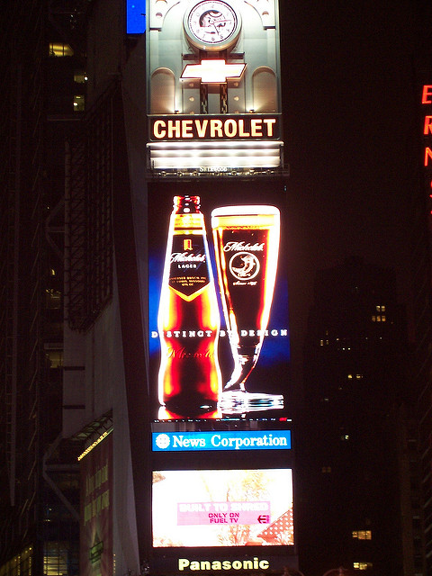 Ads at night in Times Square