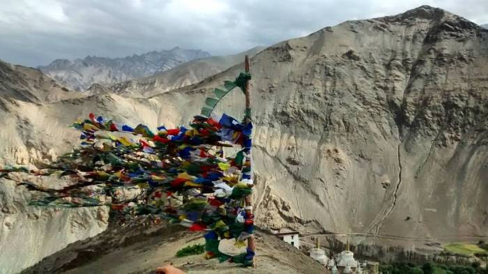 Prayer flags in the Himalayas in India. Photo by Susan Gottlieb.