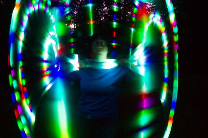LED hoop long exposure photo. Intervalometer demonstration.