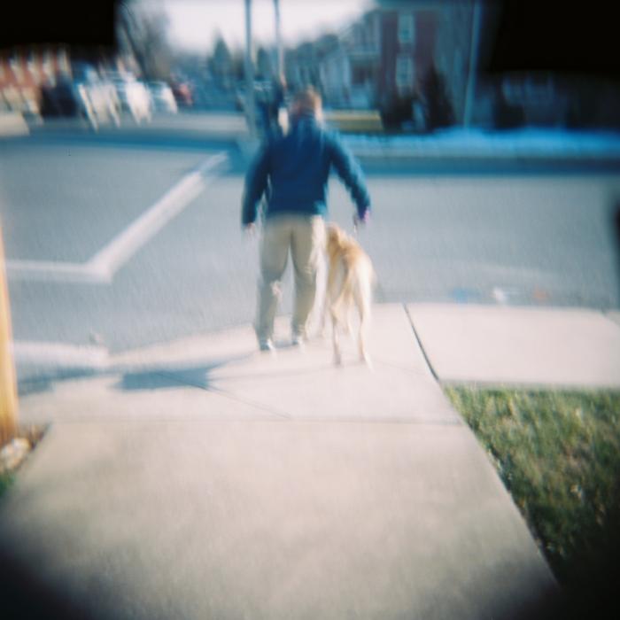 Heeling before crossing the street.