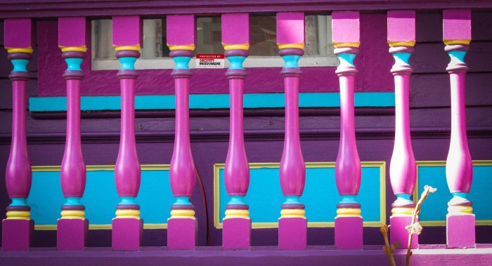 Detail on a purple house in Lewes, Delaware, USA.