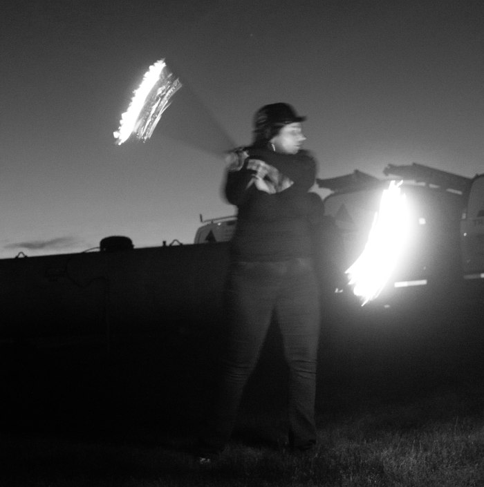 Fire staff in black and white.
