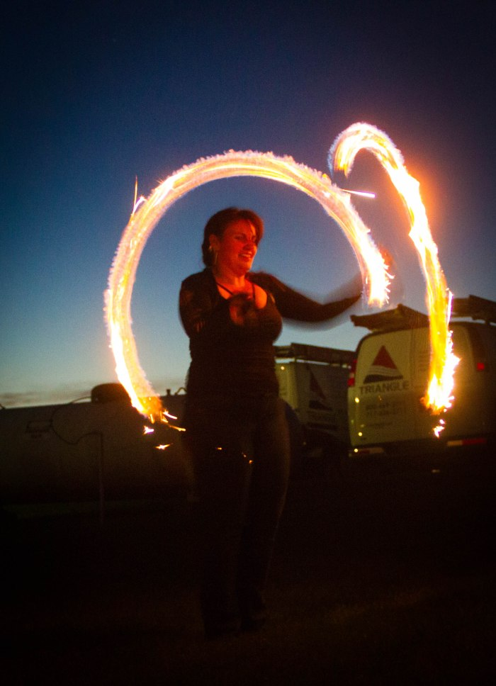 Sparkly fire poi!