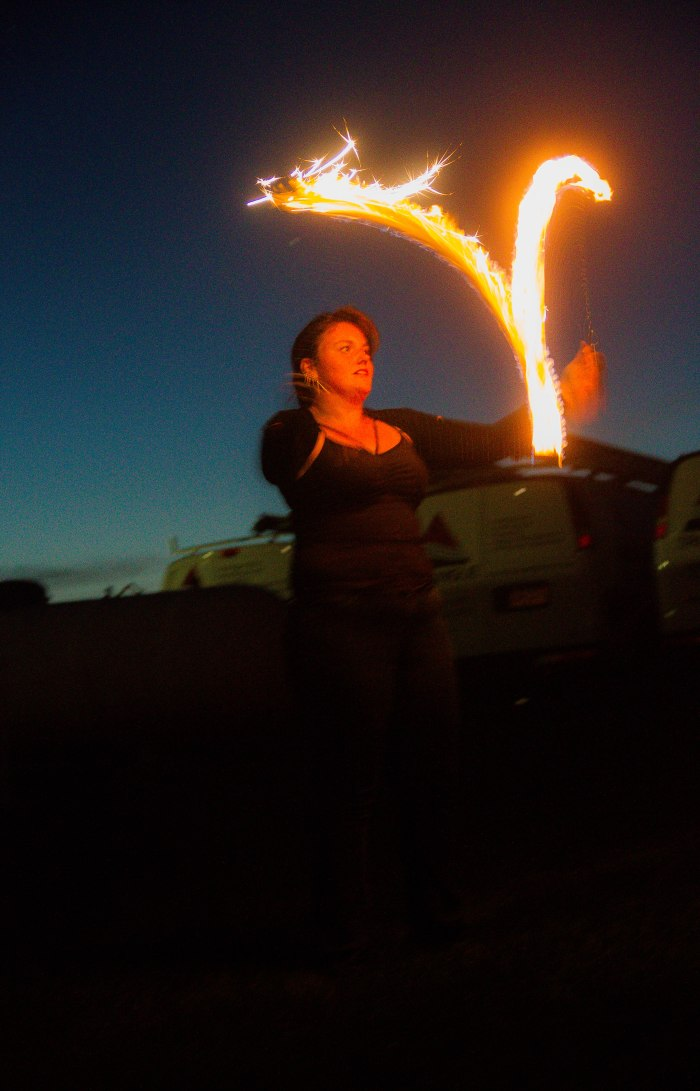 Sparkly fire poi, again!